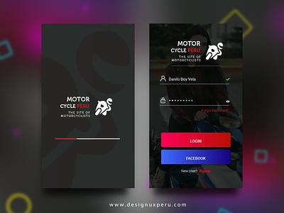 Motorcycle App Login app login login app design web flatdesign vector flat user material design designux brand ui ux