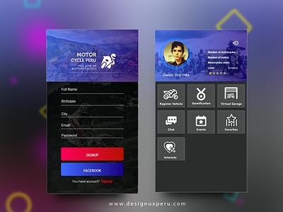 Motorcycle App Menu designux typography designui design vector flat materialdesign user menu login flatdesign material design brand ui ux