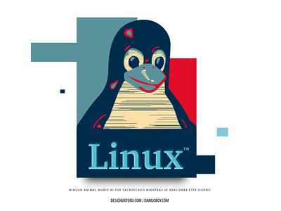 Linux Dear White texture logo design branding illustration typography tshirt linux