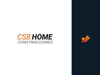 CSB HOME CONSTRUCCIONES LOGOTIPO logotype construction website web app icon logo flatdesign vector material design branding brand
