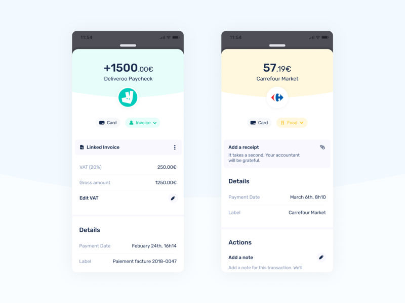 Transaction Detail - Shine mobile tax vat accounting credit card card edition modal drawer typography fintech transaction facture receipt invoice ui shine mobile banking bank