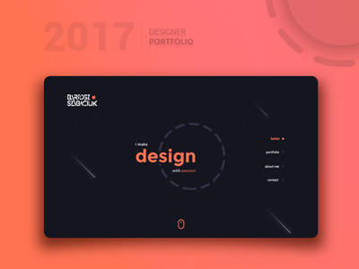Designer portfolio website concept space asteroids gradients designer portfolio design interface ux