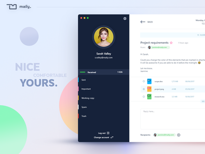 Maily - email dashboard interface inspiration interface trends gradients colors graphic design ux ui dashboard app mail