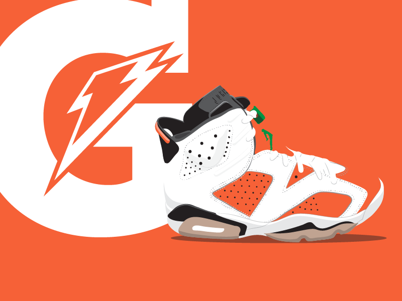 3413746ddb4 Gatorade Like Mike Jordan Shoe jordan gatorade shoe illustration