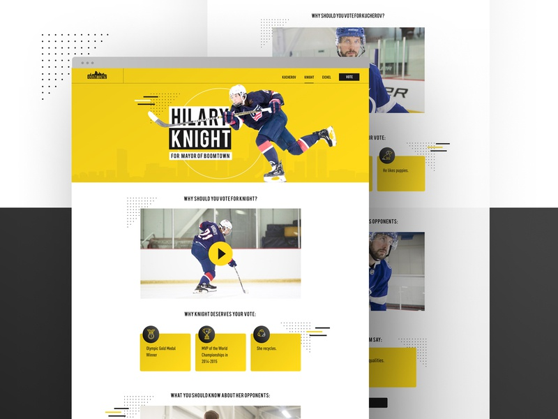 Mayor of Boomtown Microsite Player Page web design microsite ux design ui deisgn modern hockey stick nhl hockey bauer