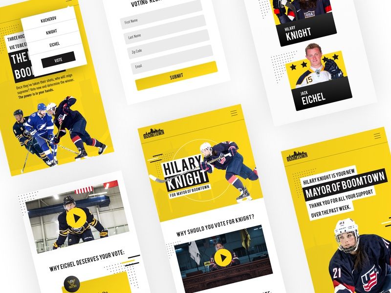 Mayor Of Boomtown Mobile Design web design modern ux design ui deisgn web  design nhl hockey stick hockey mobile