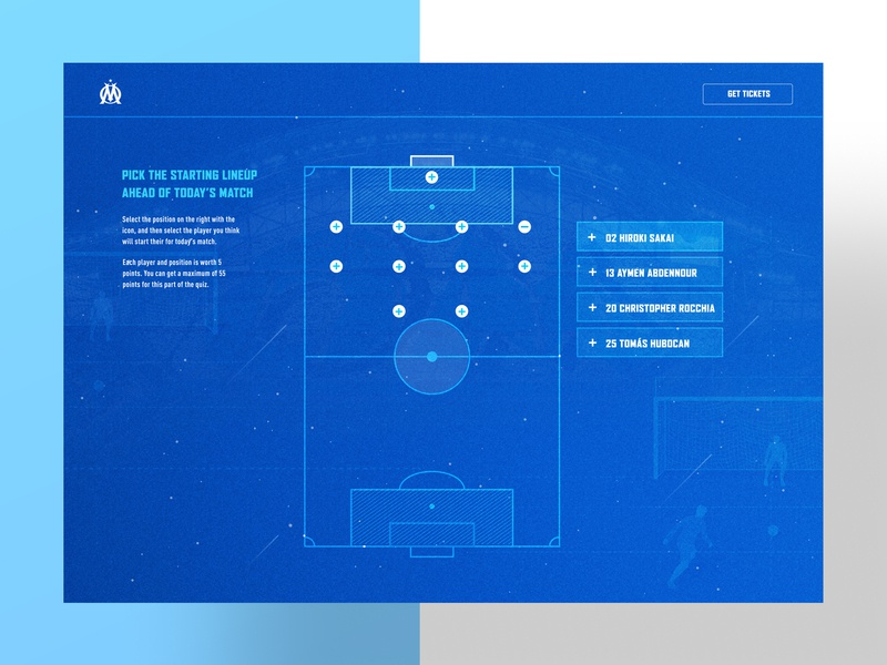 Olympique de Marseille Trivia Question Screen experience design web design soccer ux design ui desgin olympique de marseille