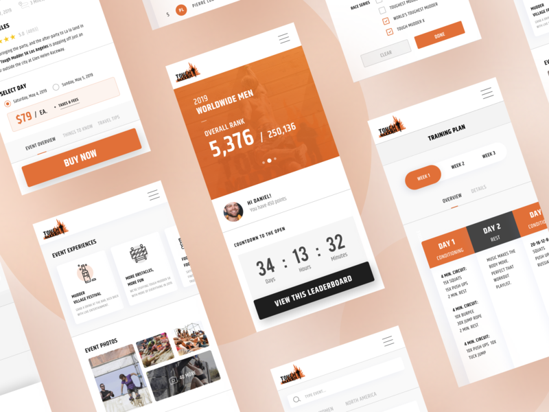 Tough Mudder Mobile Redesign Concept gradient web design minimal ui deisgn ux design illustration mobile