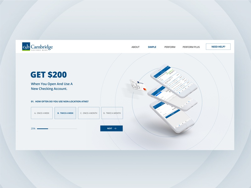 Masthead Design for Cambridge Savings ux design ui deisgn web desgin mobile minimal banking app banking bank