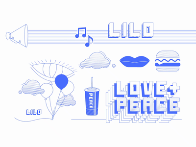 Love + Peace + Lilo Social abstract texture line art motion animation illustration minimal blue