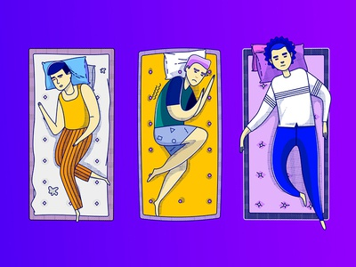 Male Character Illustration for Nectar minimal ui gradient mattress illistration
