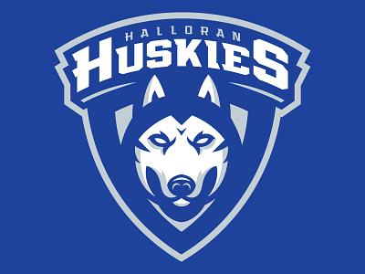 Halloran Huskies Youth Hockey Logo branding brand illustration identity vector illustrator design logo sports