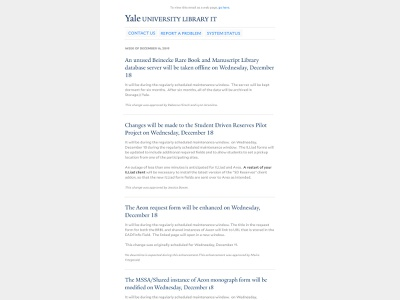 Yale Library IT Email Design higher education email design education yale