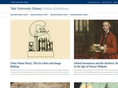 Yale Library Online Exhibitions webdesign higher education yale