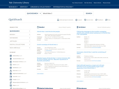 Yale Library Quick Search website design library app higher education