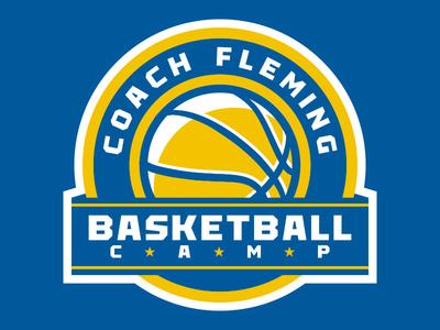 Coach Fleming Basketball Camp Logo gold yellow blue high school basketball branding logo sports