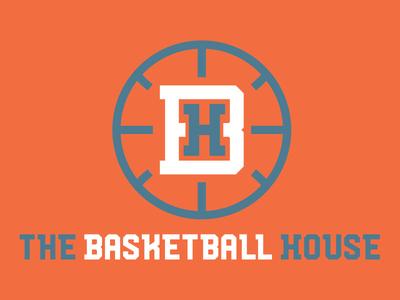 The Basketball House Logo grey orange basketball branding logo sports