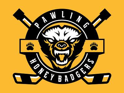 Pawling Honey Badgers Hockey Club branding icon brand illustration identity vector design illustrator badge crest hockey logo sports