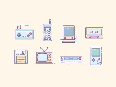 Retro Gadgets Icons apple ii filled outline classic snes nintendo icons game tech gadget vintage retro