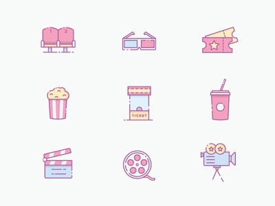 Movie and Cinema Icons icon pack pop corn outline ui icons illustration hollywood theater film cinema movie
