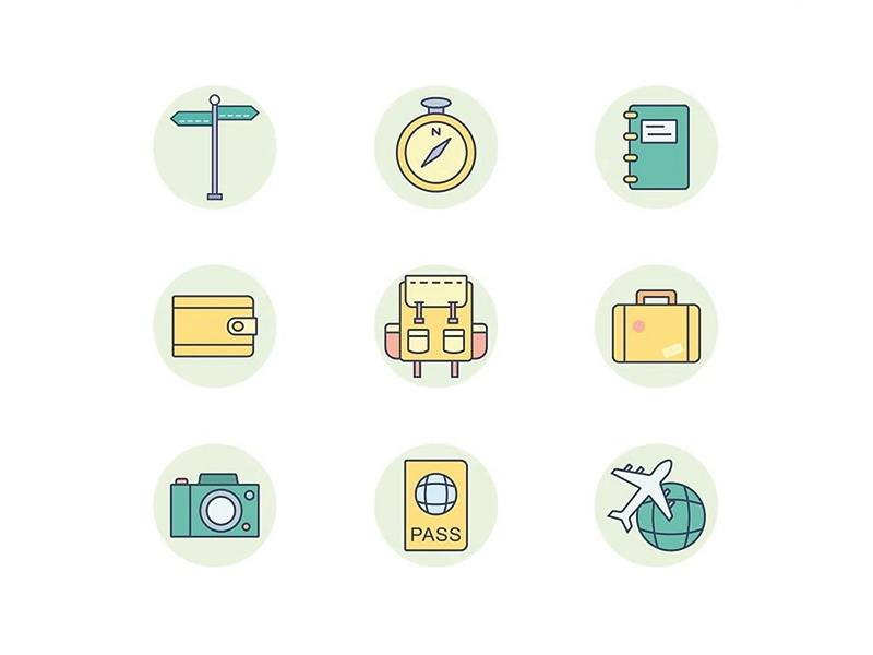 Travel Icons symbol camera backpack backpacker elements interface ui icons traveler travel