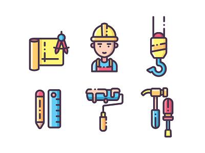 Construction Icons vector building construction worker repairman construction outline icon ux ui