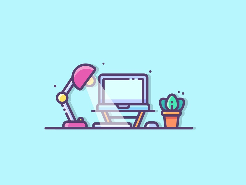 Workspace desk work desk laptop ui design vector tech outline line illustration icon workspace
