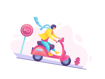Vespa Riding flat road street digitaldrawing wind man person ux ui drawing ipad procreate illustration downhill riding motorcycle bike vespa