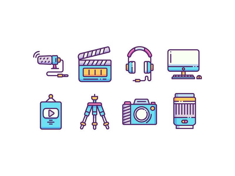 Content Creator Icons app ux illustration filled outline ui icon set icon pack camera icon influencer marketing agency content marketing youtube camera tools photographer filmmaker content creator content creation