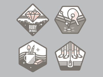 Value Badges: WIP pong pens coffee cup socks hairy ping badge