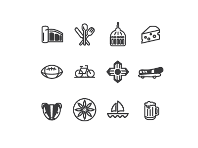 Free Madison Icon Set madison cheese bike capital beer badger football silverware