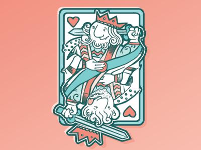 Kings of Heart hearts card king illustration