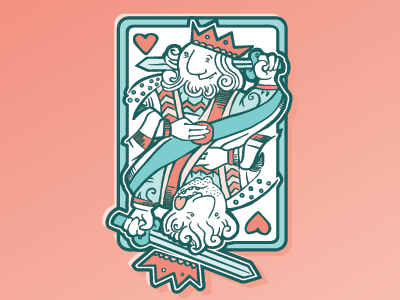 Kings of Heart hearts card king illustration