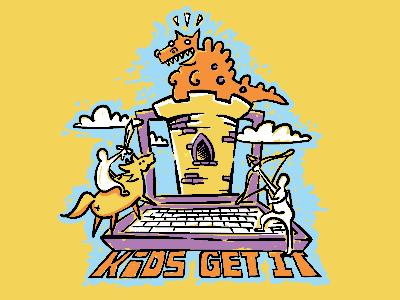 Kids Get IT  illustration clouds castle computer dragon