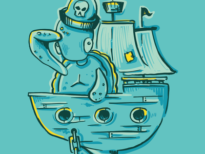 Pirate Life ship illustration turtle
