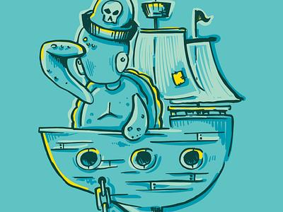 Pirate Life ship illustration turtle