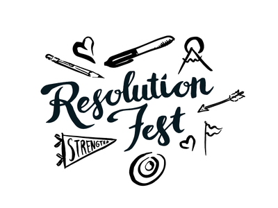 Resolution Fest Logo and Illustrations sharpie pencils arrow flag handwriting logo