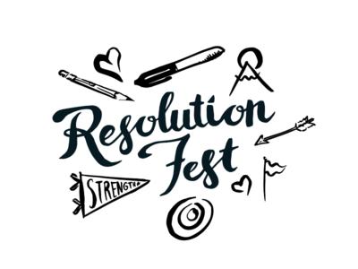 Resolution Fest Logo and Illustrations sharpie pencils arrow flag handwriting logo