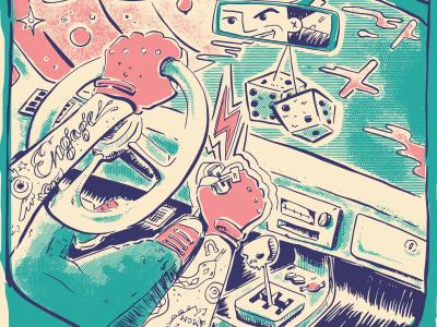 Engage! More key crosshatch skull car illustration