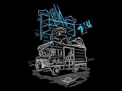 Madison+ Ruby: Chicago T-shirt design pizza city winnebago illustration