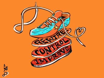 Orange Shoe Gym Mural sketch illustration shoes mural