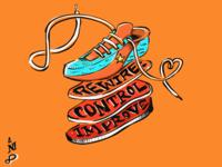 Orange Shoe Gym Mural sketch