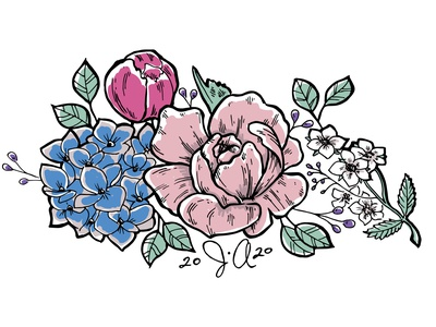Floral wedding motif wedding illustration hydrangea floral flower peony