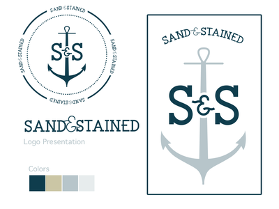 Sand & Stained Brand Identity vintage logo brand anchor logo woodworking carpentry beach anchor stained sand