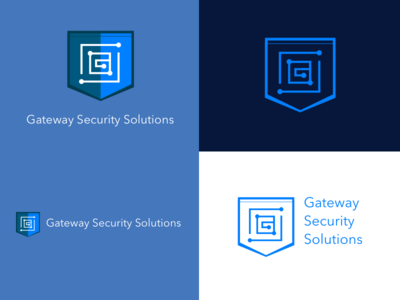 Gateway Security Solutions Logo branding network shield gateway security logo