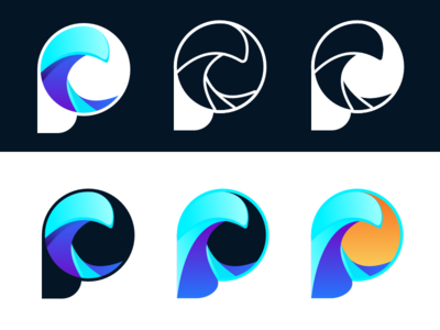 ProWave Early Concepts p glossy gradient wave logo