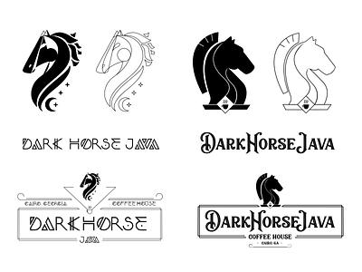 Dark Horse Java Brand Concepts logo georgia cairo moon stars chess coffee nordic linework java horse dark