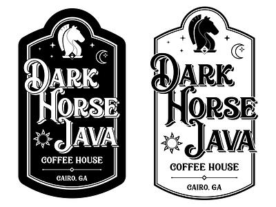 Dark Horse Java Packaging Stickers packaging sticker georgia cairo moon stars chess coffee java horse dark