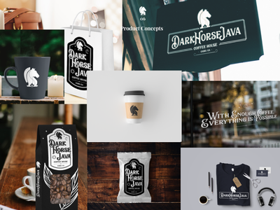 Dark Horse Java Product Concepts t-shirts signage packaging sticker coffee java horse dark