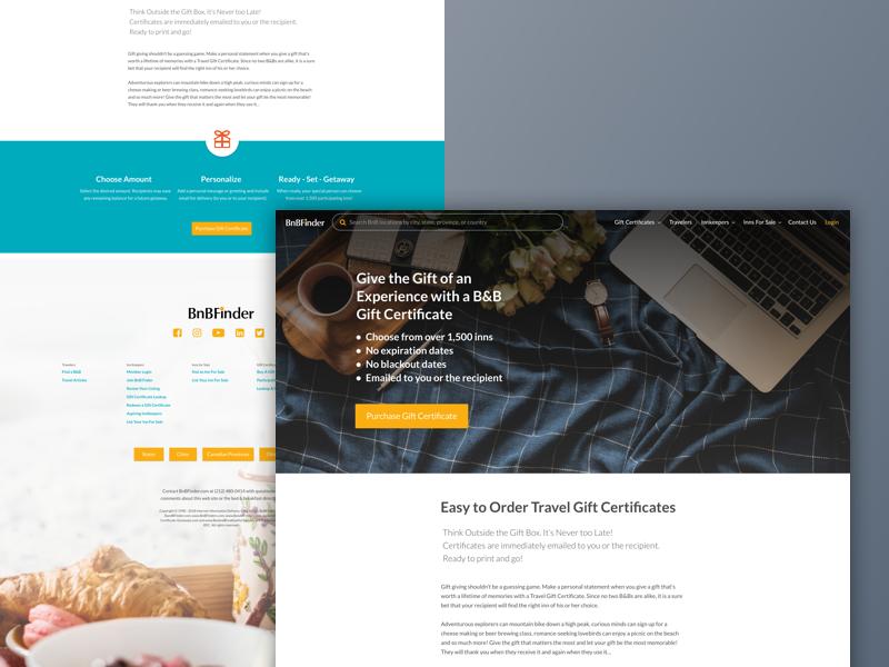 BnBFinder GiftCards Promo ui redesign web gift gift cards bed and breakfast bnbfinder bnb